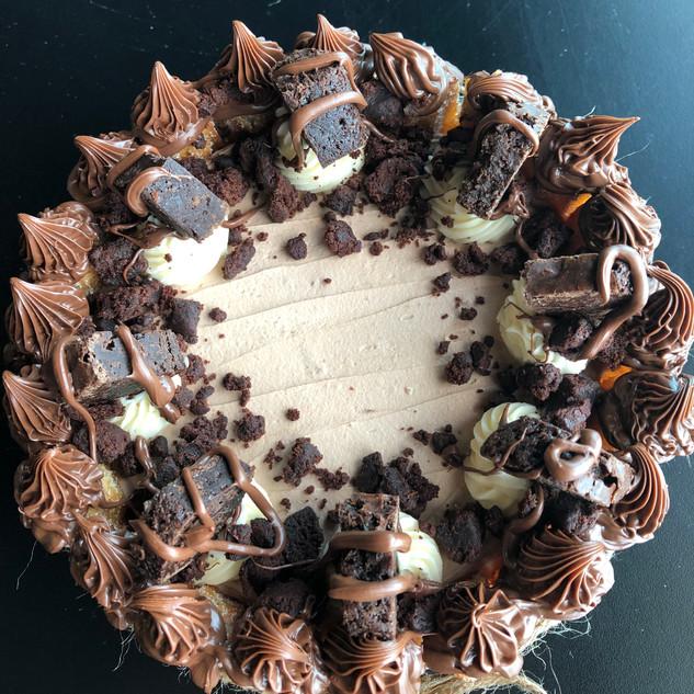 Brownie Delight Churro Cake