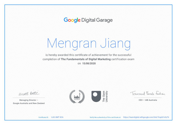 Google Digital Garage - the Fundamentals of digital marketing certificate