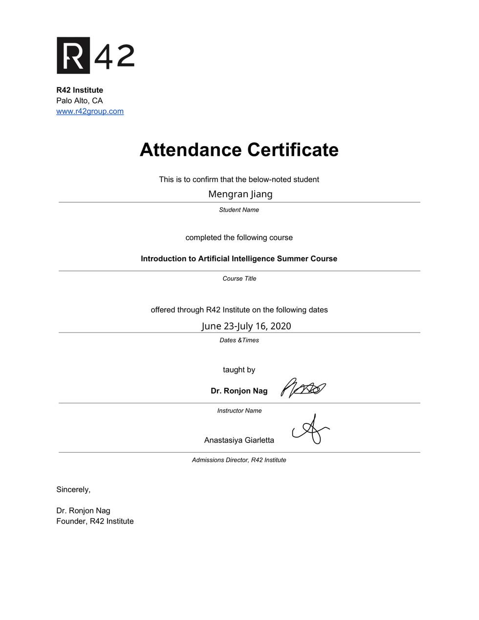 R42 - Institute AI Course Certificate