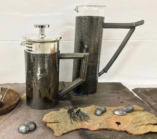 Hand Fabricated, Textured & Engraved Caffetiere & Vessel, 2019