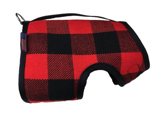 Winter Wrap Dog Harness Red Buffalo Plaid Right Lateral View