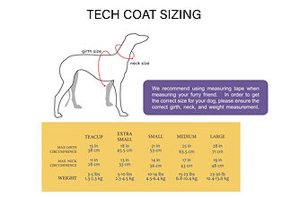 Tech Coat Sizing Info