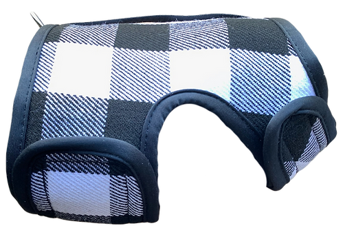 Winter Wrap Dog Harness White Buffalo Plaid Right Lateral View