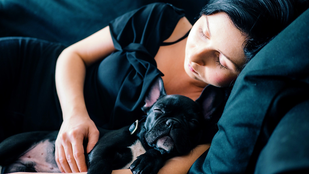 Woman and dog have their eyes closed. Woman is holding dog.