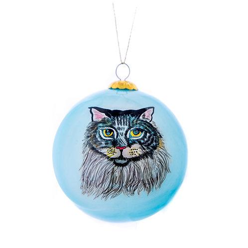 Grey Tabby Long Hair Ornament