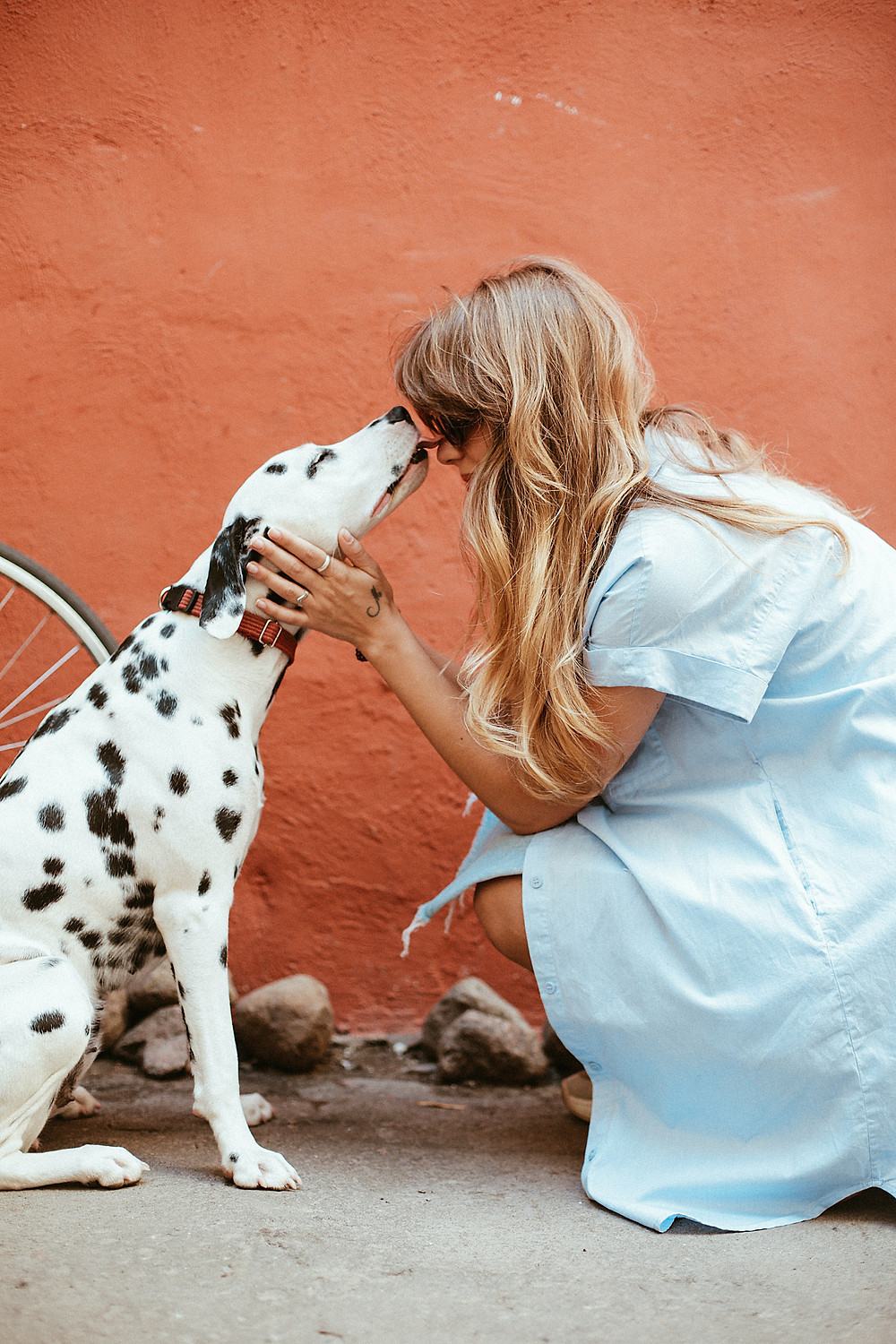 Woman in sunglasses receives kiss from her Dalmatian dog. They are in front of a pink outdoor wall.