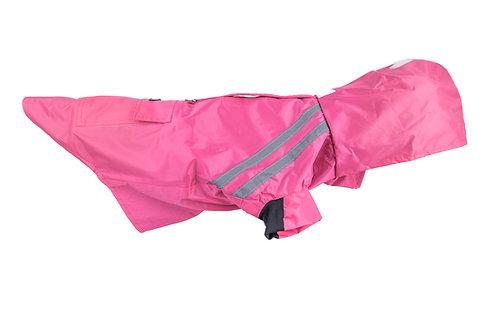 pink dog raincoat with adjustable zippers