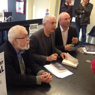 Douglas Dunn, W.N. Herbert and me at Whaleback City launch