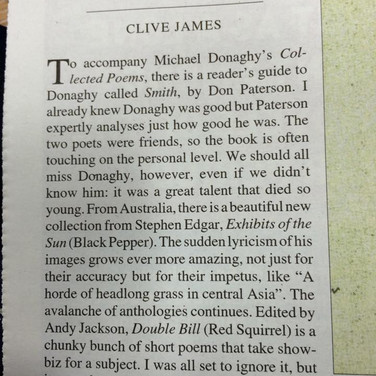 Clive James likes Double Bill! TLS cutting