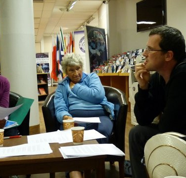 Soutar Group meeting in Perth Library - Mary Macdonald, Margaret Gillies Brown, Morgan Downie