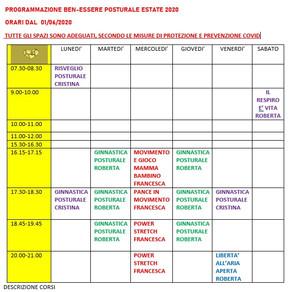 PROGRAMMAZIONE BEN-ESSERE POSTURALE ESTATE 2020   ORARI DAL  01/06/2020