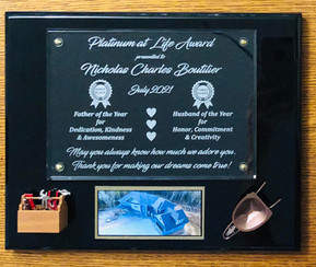 10.5x13 award plaque - acrylic lasered plate with colour photo and miniature tools attache