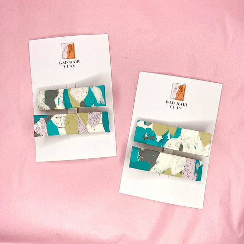 Phoebe Abstract Crocodile Hair Clips - Set of Two