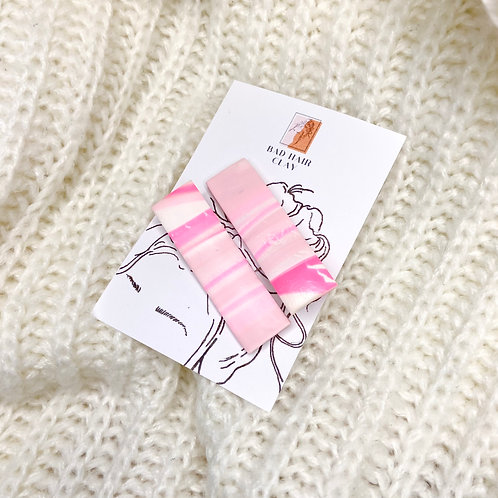 Linnea Pink Marble Hair Clips - Set of Two