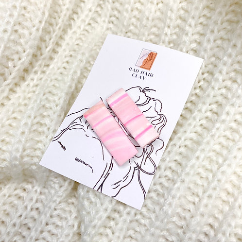 Extra Small Linnea Pink Marble Hair Clips - Set of Two