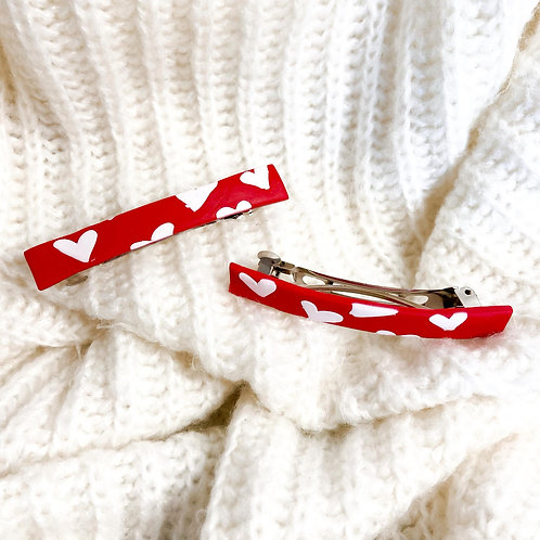 Adelpha in Red Abstract Barrette Hair Clips