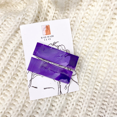 Amethyst Stone Effect Purple Marble Hair Clips - Set of Two