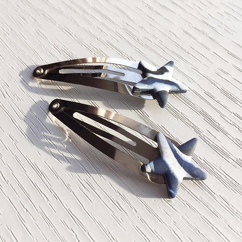 Luna in Black, White and Navy Shooting Star Snap Hair Clips - Set of Two