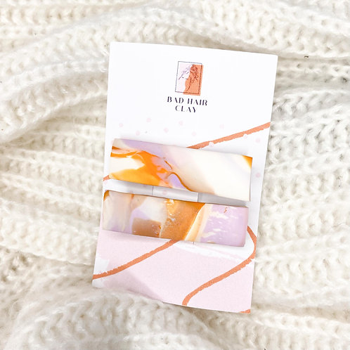 Taylor Orange and Purple Marble Crocodile Hair Clips - Set of Two