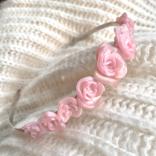 Pink Rose Polymer Clay Metal Headband