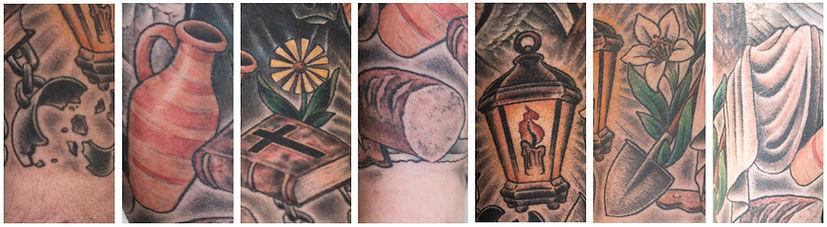 7 Werke der Barmherzigkeit - Tattoo auf dem Unterarm von Diakon Rainer Fuchs