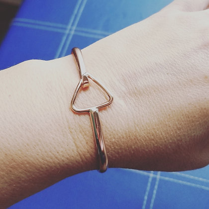 Copper Hammered Triangle Buckle, Bangle, Bracelet, Fire, Element, Water, Alchemy