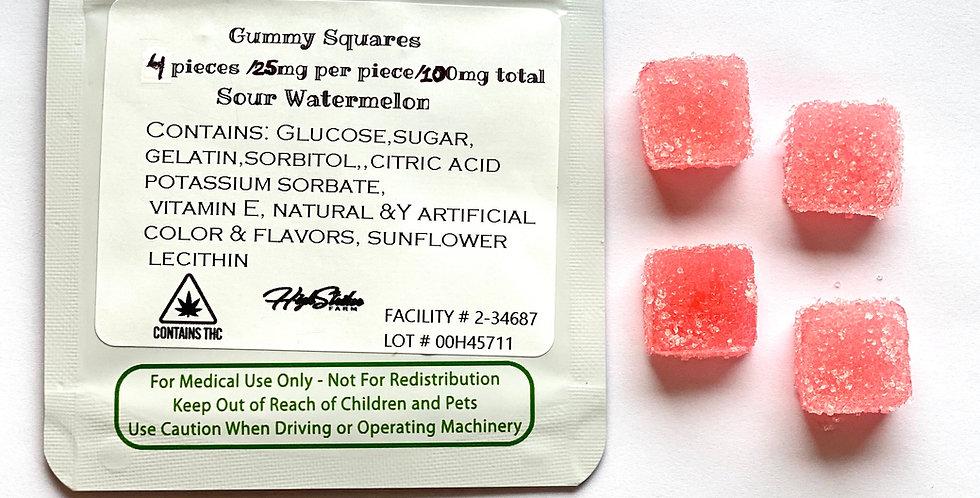 100mg THC Sour Watermelon Gummies