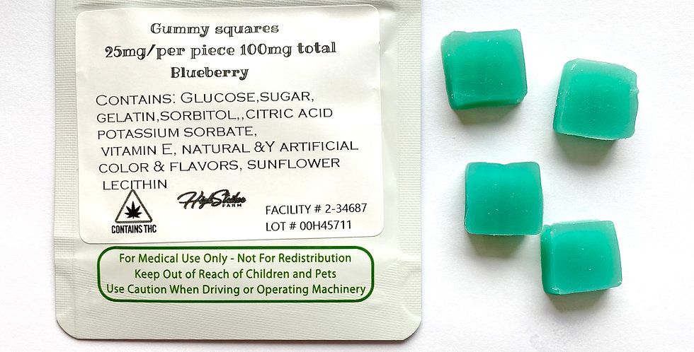 100mg THC Blueberry Gummies