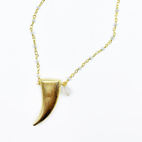 Moonstone Gold Horn Necklace