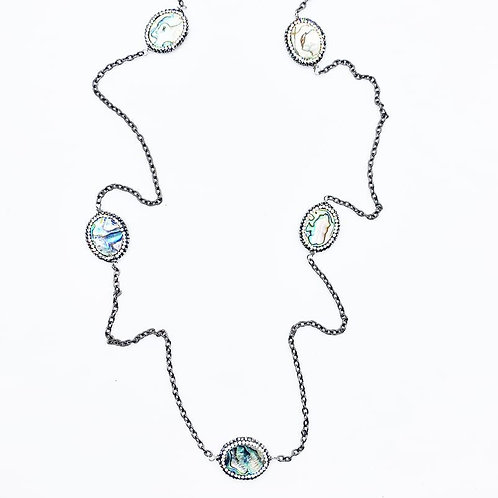 Pave Abalone Layering Necklace