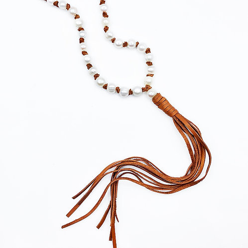 Leather Knotted Pearl Necklace