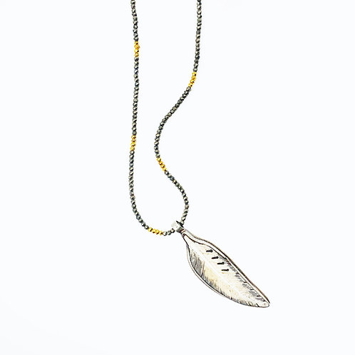 Carved Bone Feather Pyrite Necklace