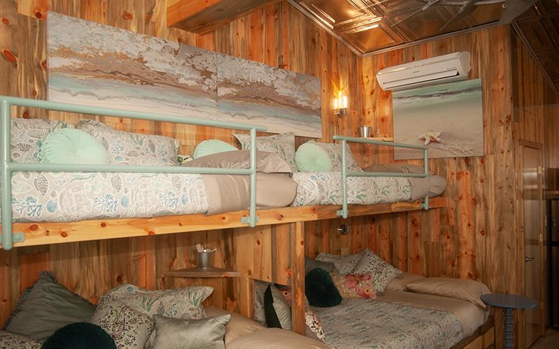 Bunk beds and beautiful lighting