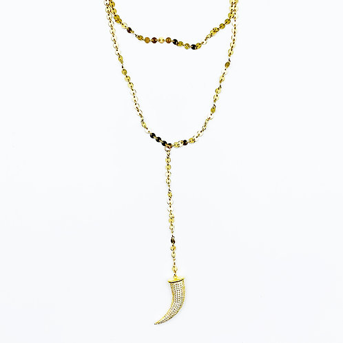 Pave Horn Double Necklace