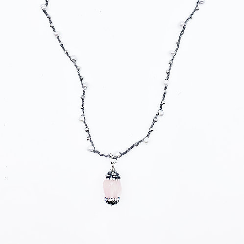 Crochet Pearl Pave Quartz Necklace