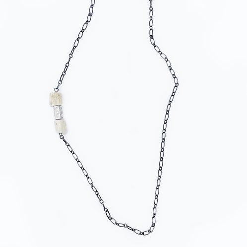 Gunmetal Antler Bead Necklace
