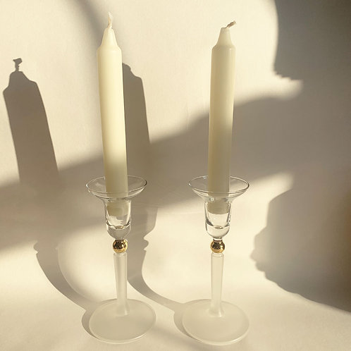 Pair of 80's Glass Candle Holders