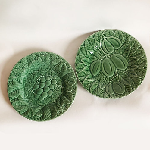 Pair Green Majolica Plates