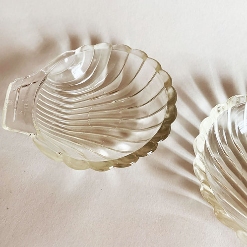 Two Small Glass Shell Dishes