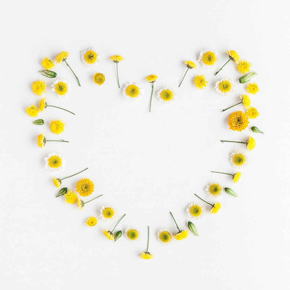 Flowers composition. Heart symbol made o