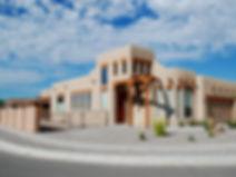Mock adobe Southwestern home, Bernalillo