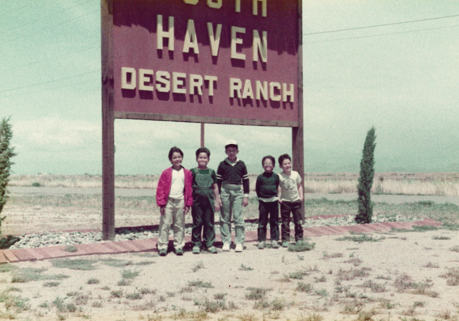 """A team of boys enjoying their time at the """"Desert Ranch"""" in Picacho, Arizona. The address was later changed to Eloy, Arizona, but the location is the same."""