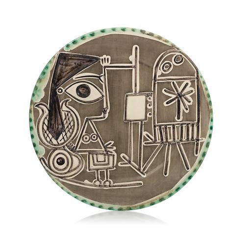 Pablo Picasso Madoura ceramic round dish 'Jacqueline au chevalet,' Ramié 333