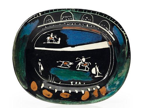 Pablo Picasso Madoura Ceramic Plate -Corrida verte, Ramié 81