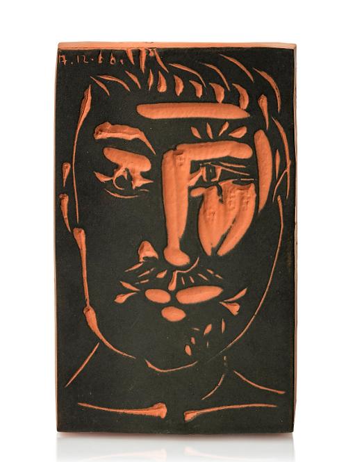 Pablo Picasso Ceramic Tile - Visage d'homme, Ramié 539