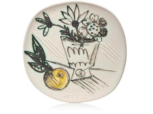 Pablo picasso Madoura Ceramic Plate-Bouquet à la pomme, Ramié 307