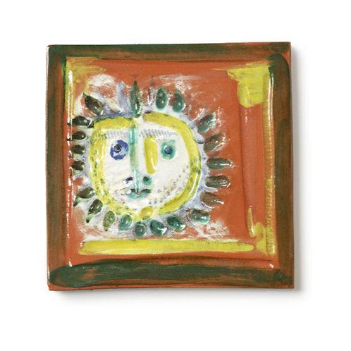 Pablo Picasso Ceramic Tile - 'Petite Visage Solaire,' Ramié 552