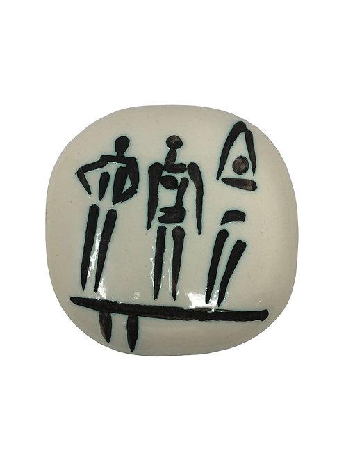 Pablo Picasso Ceramic Plate Set -Trois Personnages Sur Tremplin, Ramié 375