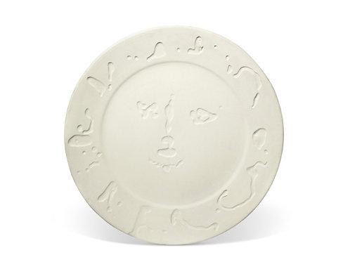 Pablo Picasso Madoura Ceramic Plate -'Visage larvé; Décor de feuilles 'Ramié 348