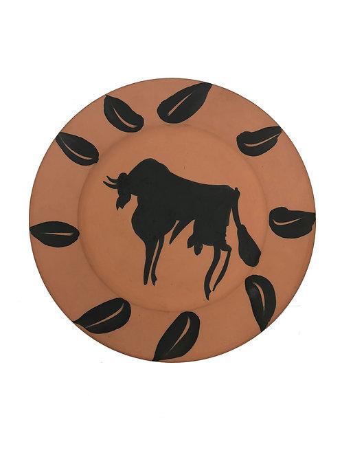Pablo Picasso Ceramic Plate - Taureau, marli aux feuilles, Ramié 394
